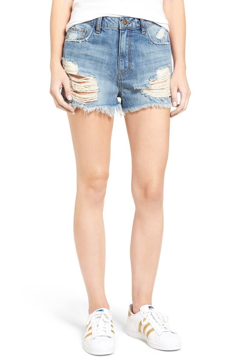 SUN & SHADOW Ripped High Rise Denim Shorts, Main, color, 450