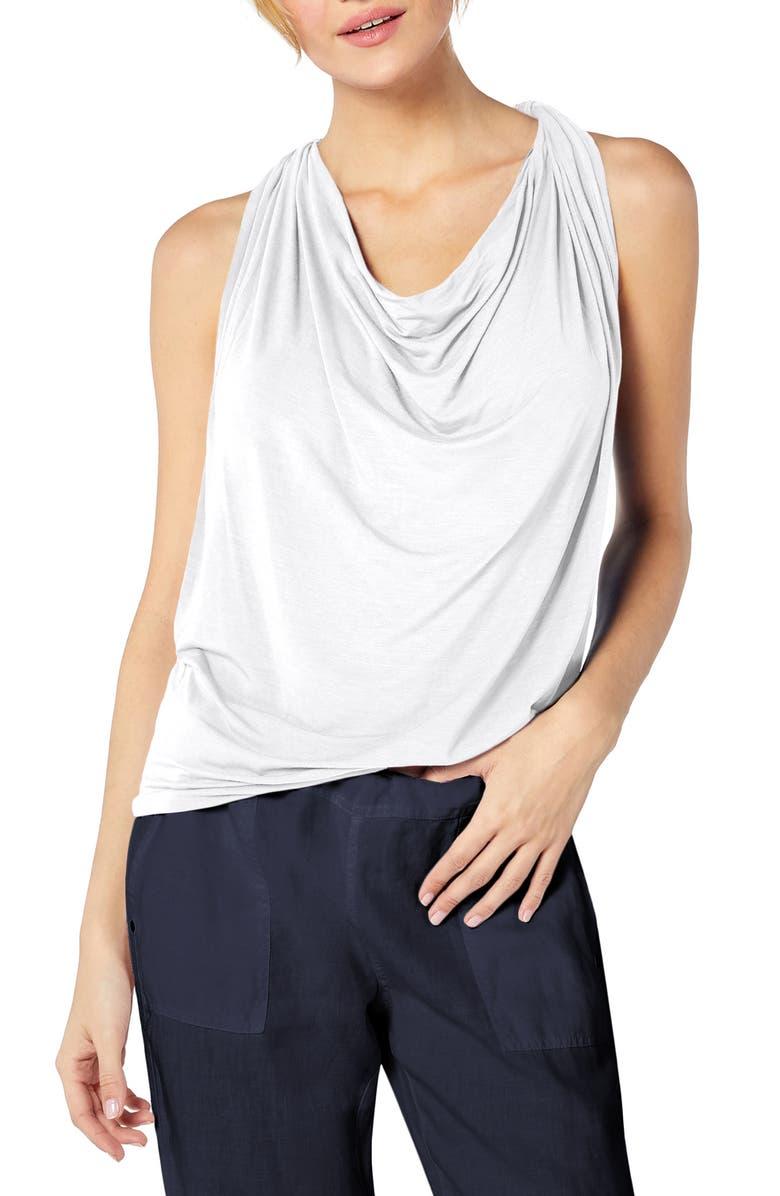 MICHAEL STARS Drape Neck Jersey Top, Main, color, WHITE