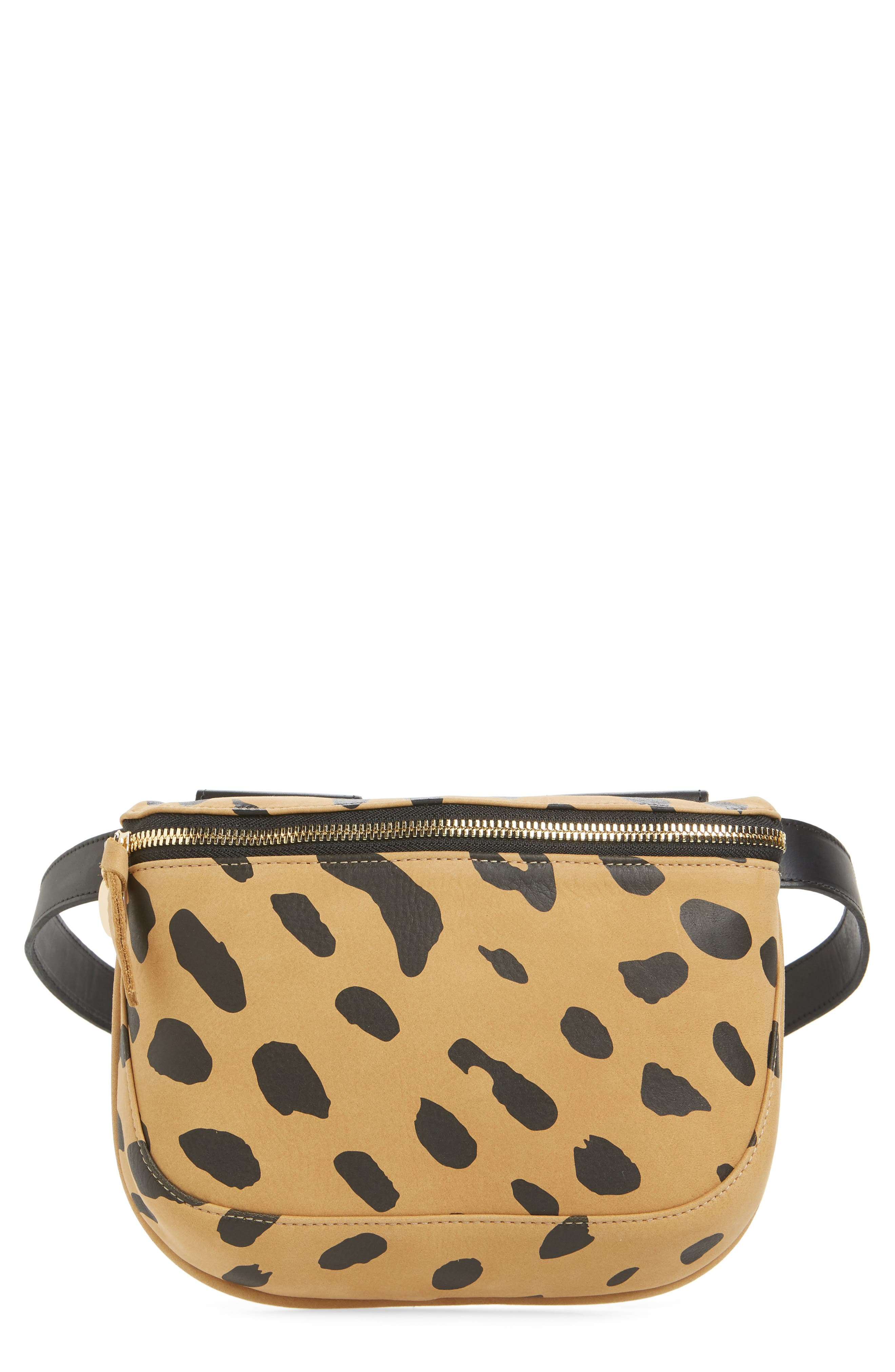Jaguar Print Leather Fanny Pack, Main, color, CAMEL
