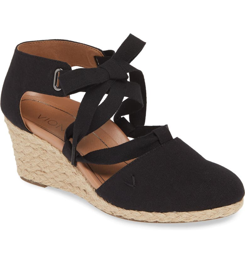 VIONIC Kaitlyn Open Sided Wedge Sandal, Main, color, BLACK CANVAS