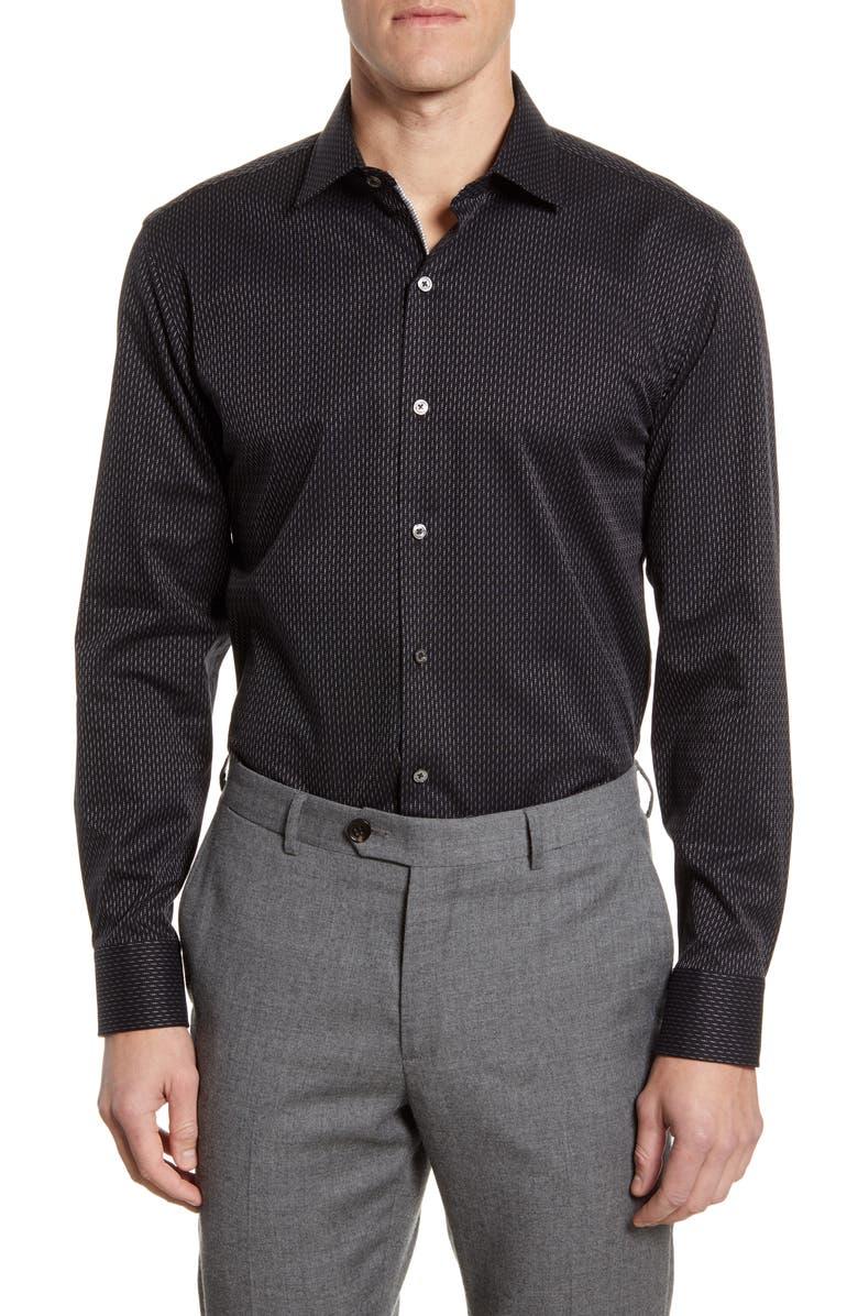 BUGATCHI Trim Fit Dress Shirt, Main, color, BLACK