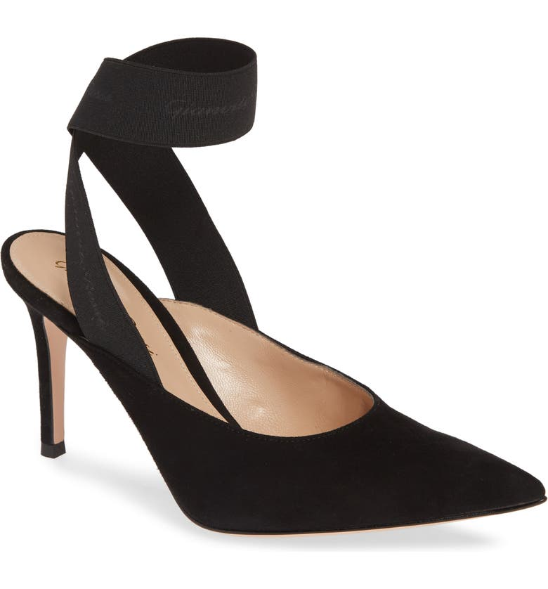 GIANVITO ROSSI Ankle Wrap Pointy Toe Pump, Main, color, BLACK