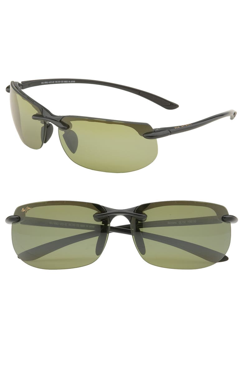 MAUI JIM 'Banyans - PolarizedPlus<sup>®</sup>2' 67mm Sunglasses, Main, color, GLOSS BLACK / HT LENS