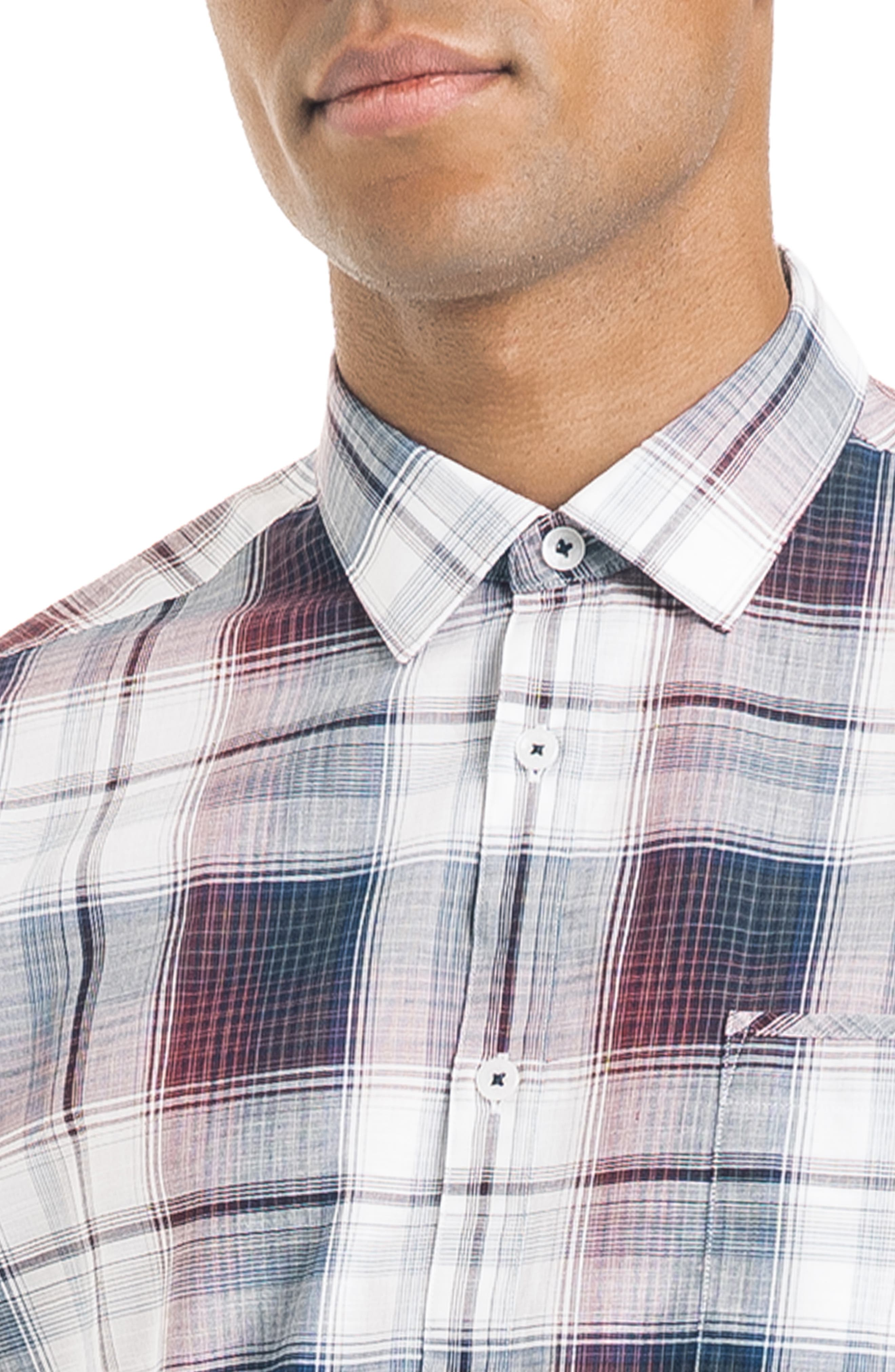 ,                             Slim Fit Plaid Sport Shirt,                             Alternate thumbnail 2, color,                             WHITE