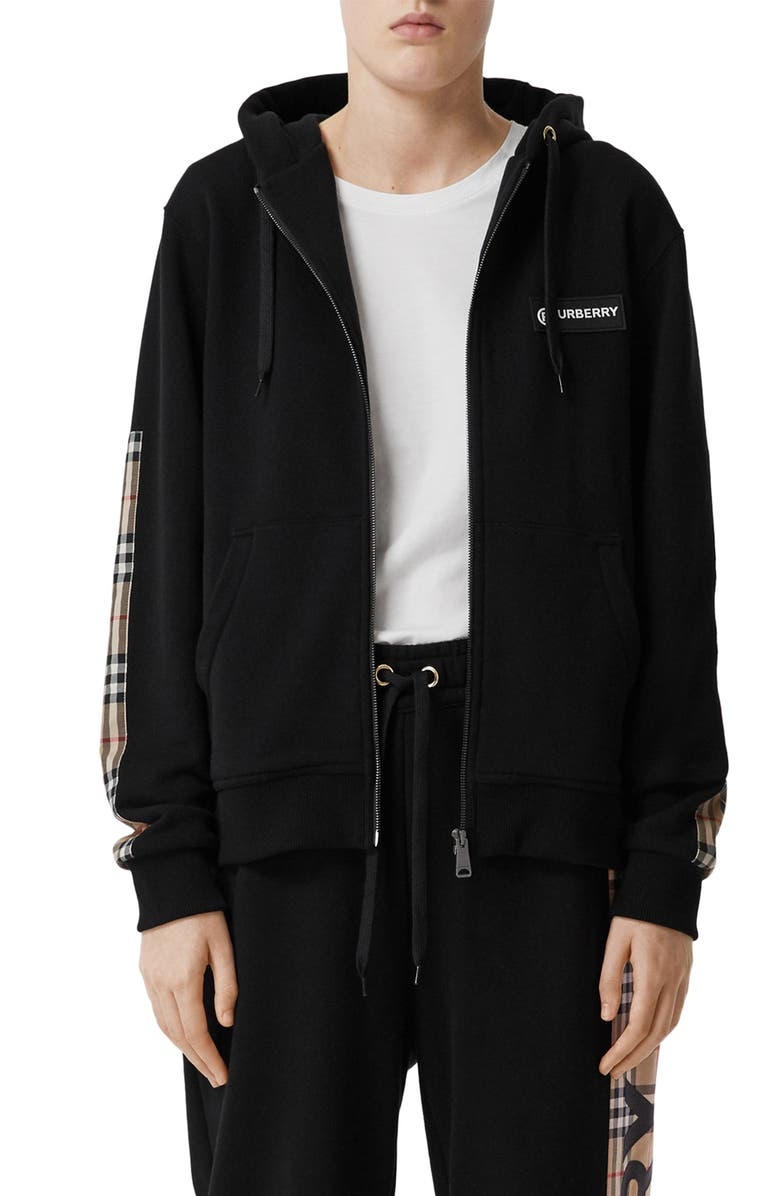 BURBERRY Aubree Vintage Check Panel Hoodie, Main, color, BLACK