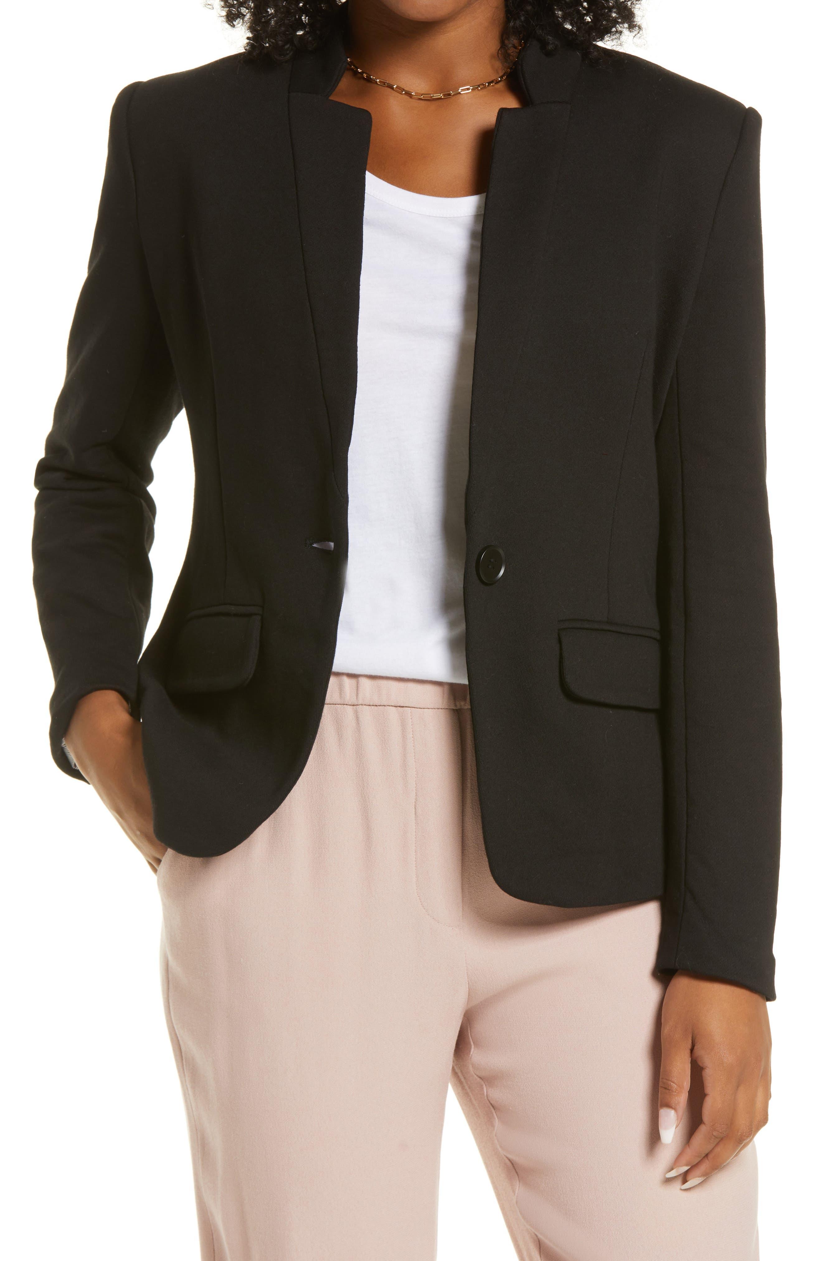 Inverted Notch Collar Cotton Blend Blazer