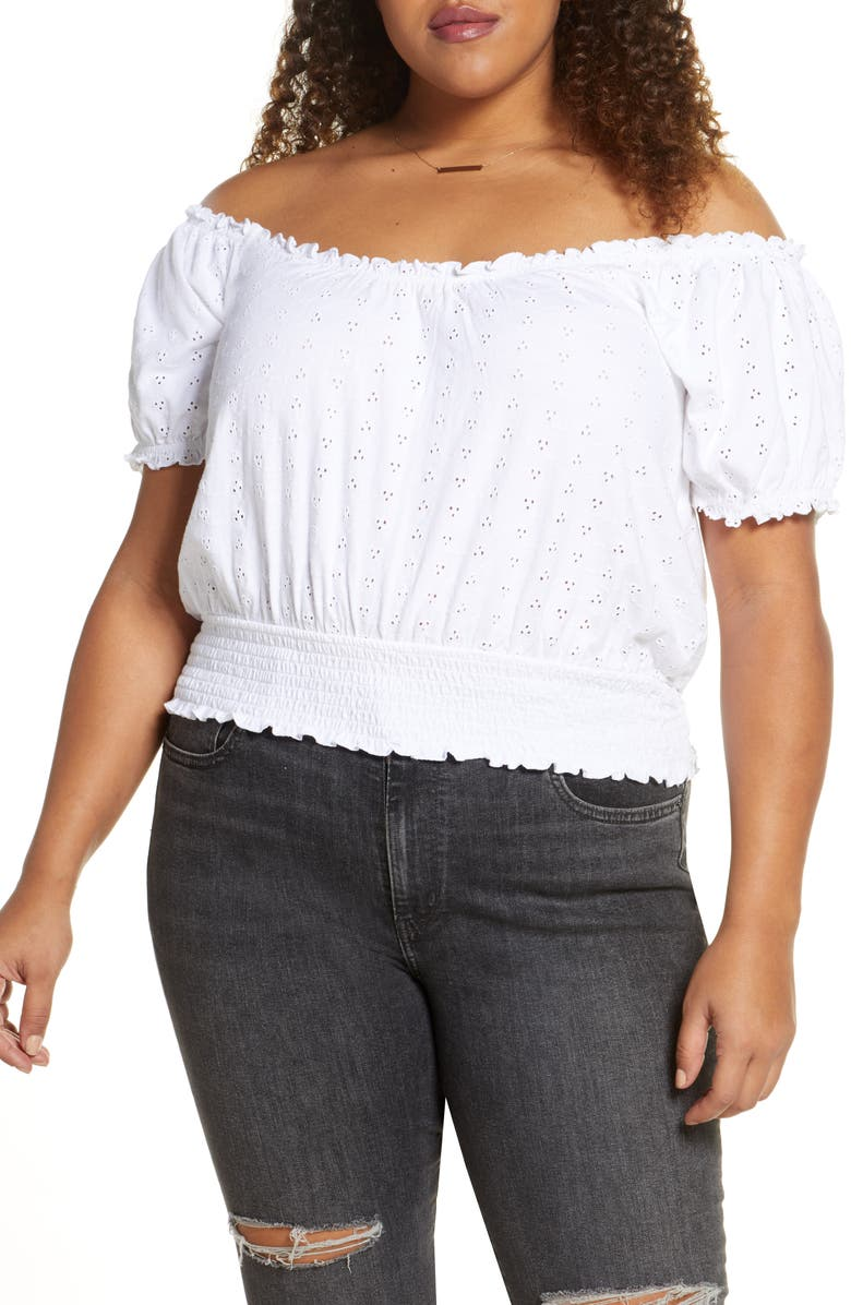 BP. Off the Shoulder Eyelet Top, Main, color, WHITE