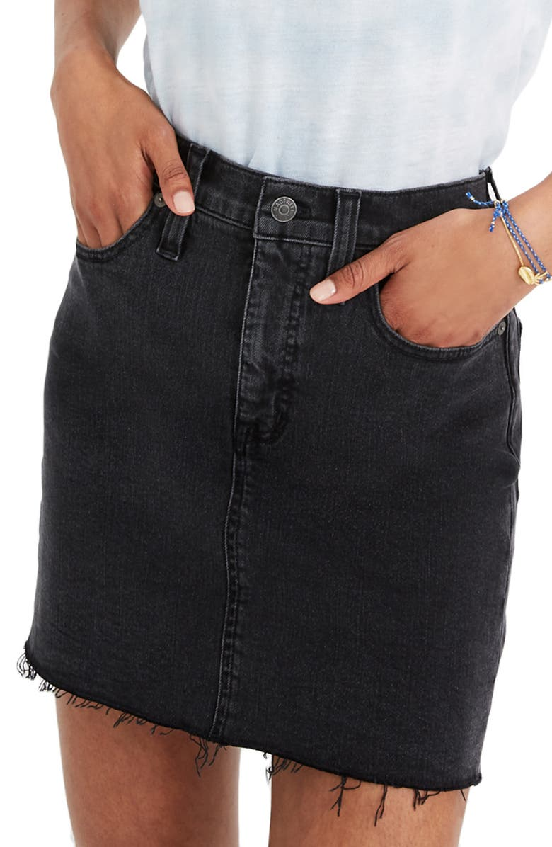 MADEWELL Raw-Hemmed Edition: Stretch Denim Straight Mini Skirt, Main, color, 001
