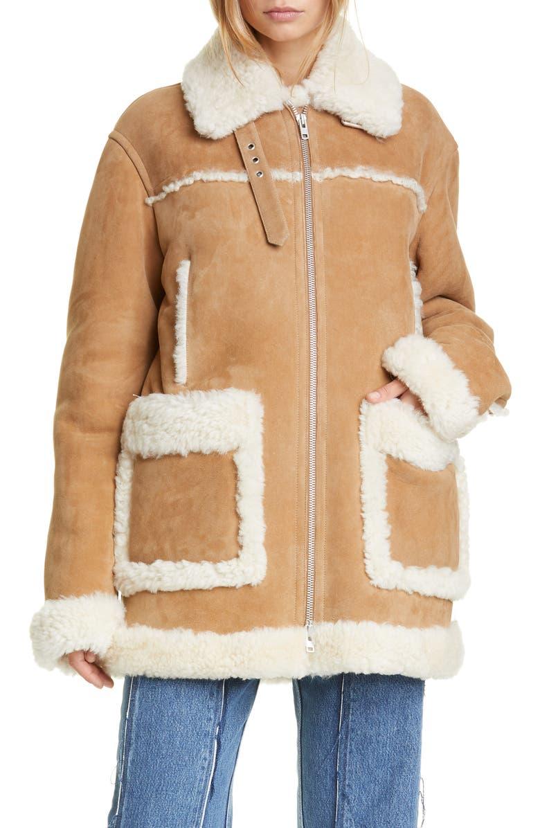 MAISON MARGIELA Oversized Genuine Shearling Jacket, Main, color, CAMEL