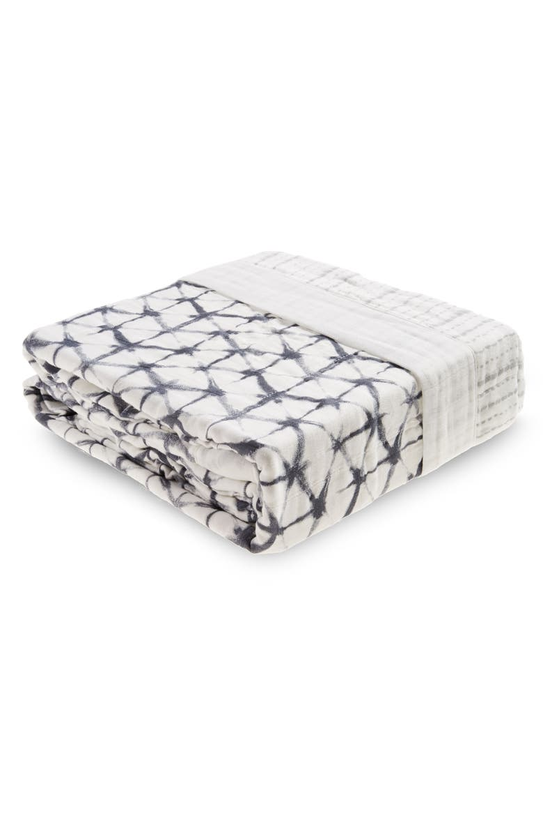 ADEN + ANAIS Oversize Muslin Blanket, Main, color, PEBBLE SHIBORI
