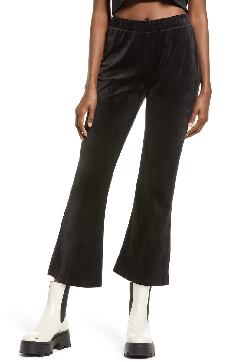VERO MODA Athena Velvet Flare Crop Pants, Main, color, BLACK