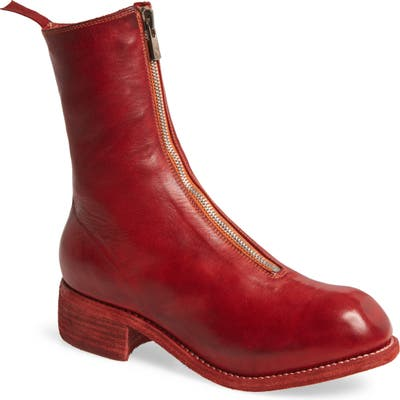 Guidi Front Zip Boot, Red