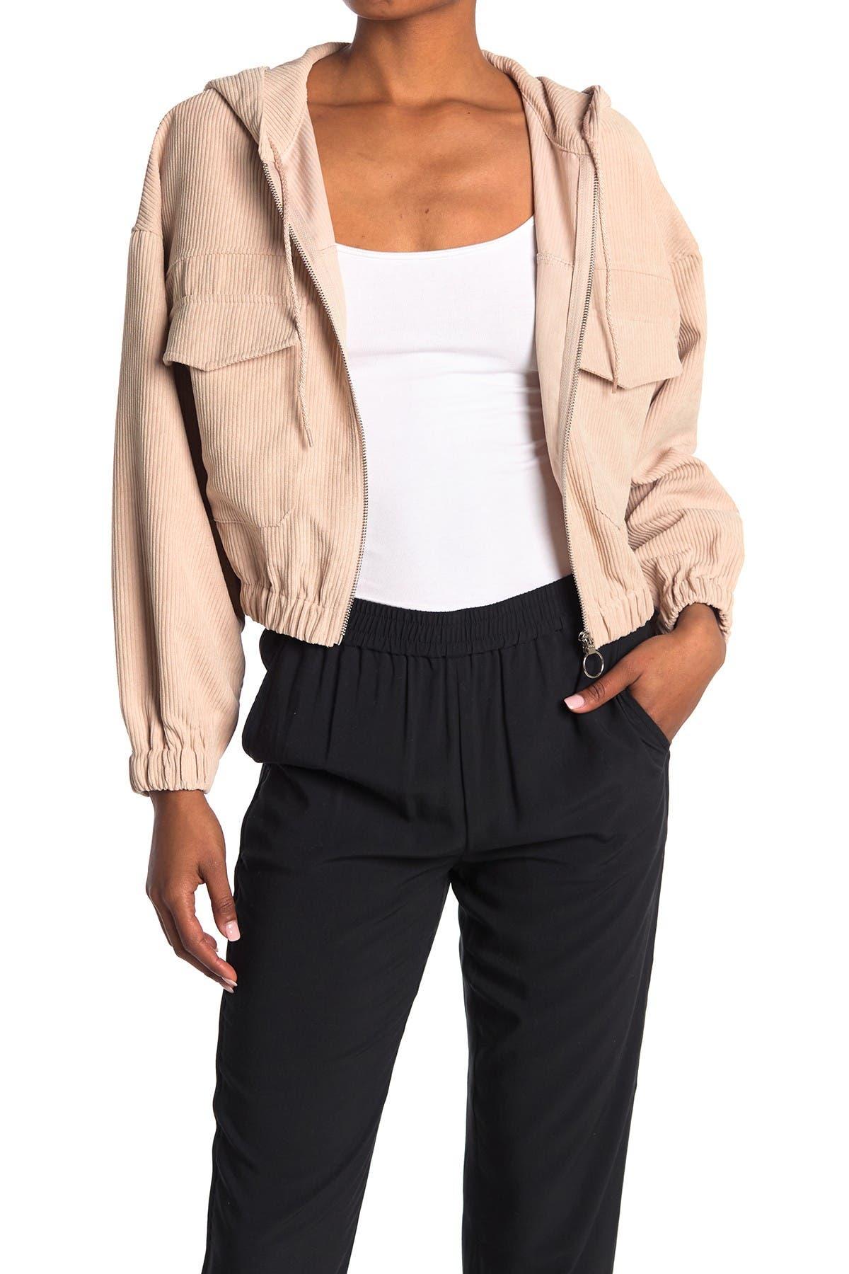 Image of Elodie Corduroy Cropped Hoodie Jacket