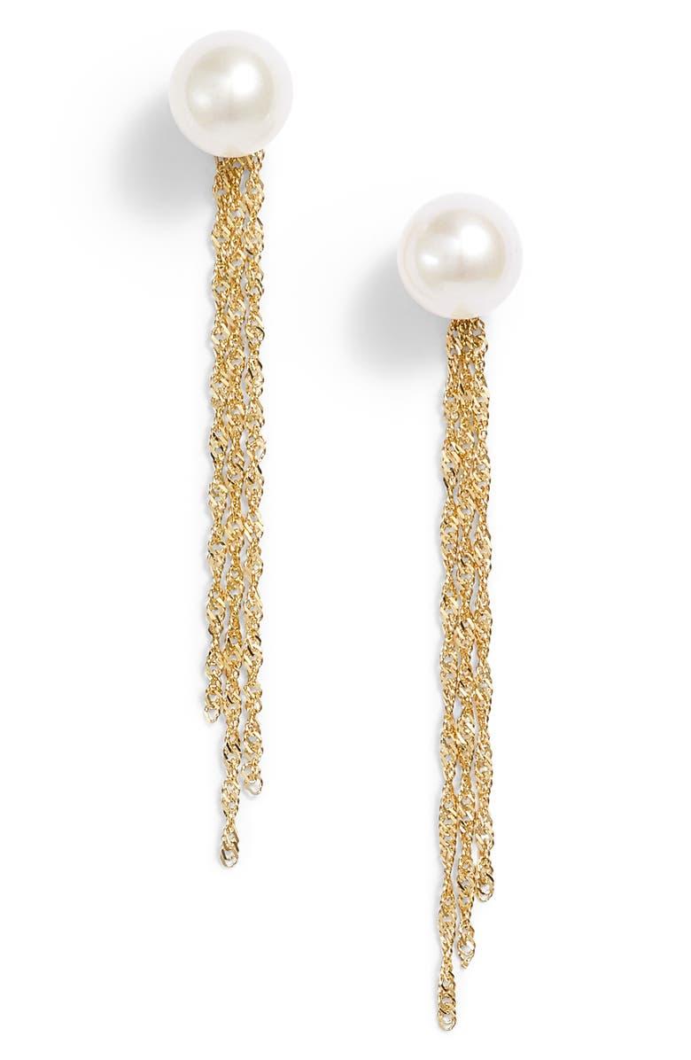 POPPY FINCH Gold Tassel Jacket Pearl Stud Earrings, Main, color, YELLOW GOLD/ PEARL