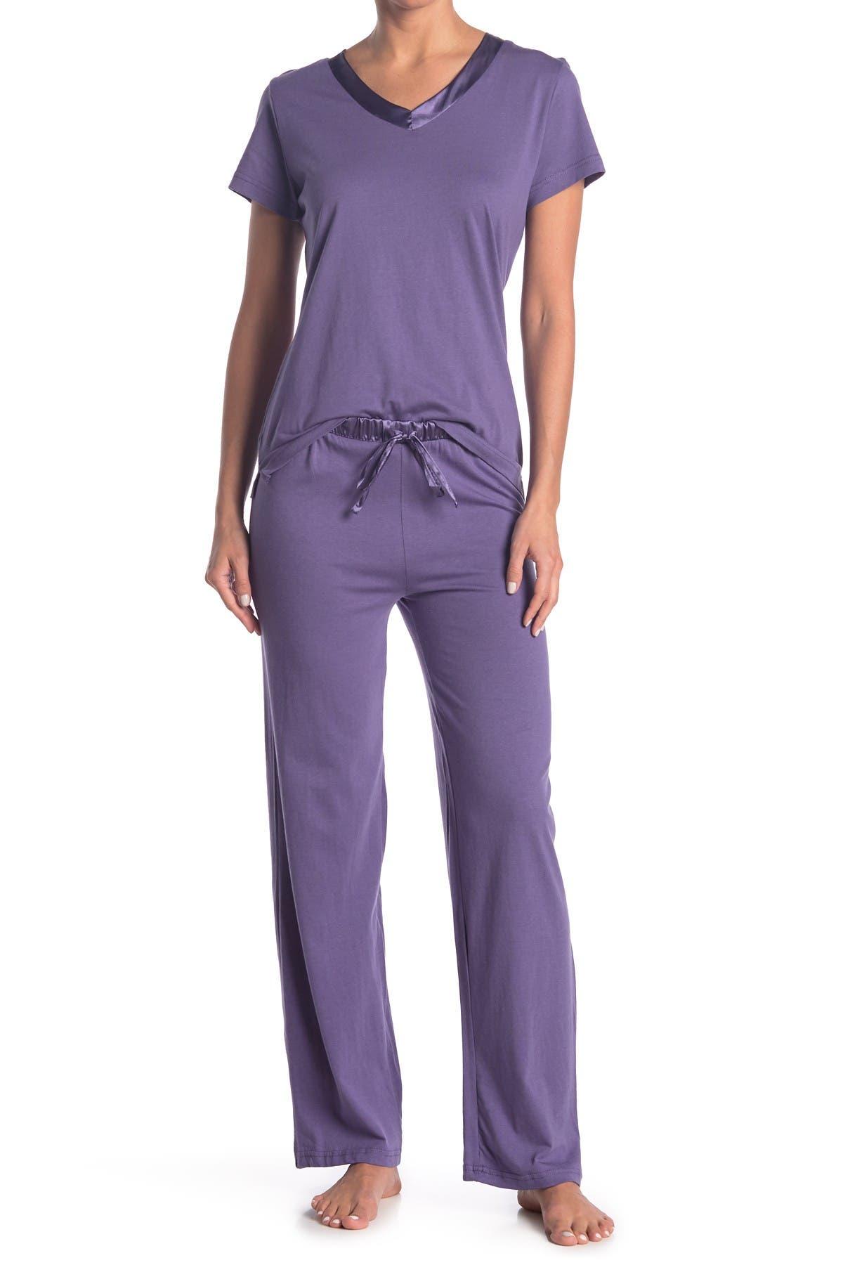 Image of Blis Satin Trim 2-Piece Pajama Set
