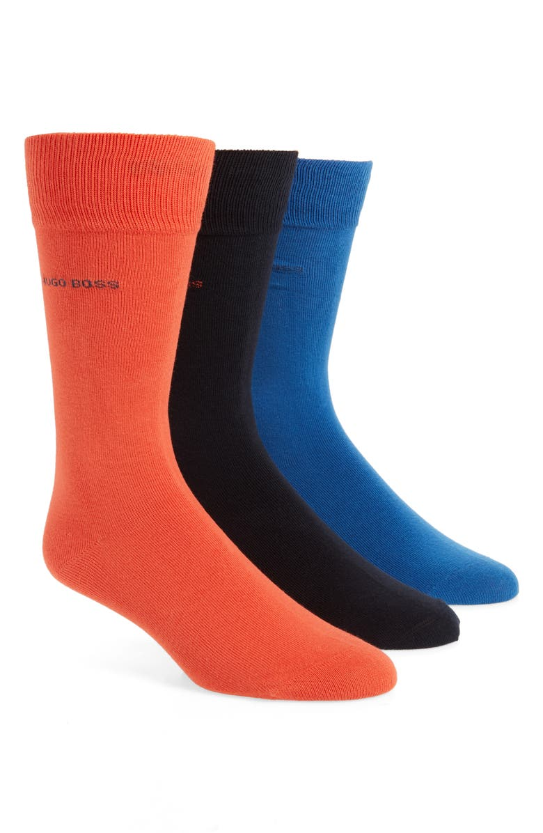 BOSS 3-Pack Socks, Main, color, BLUE MULTI