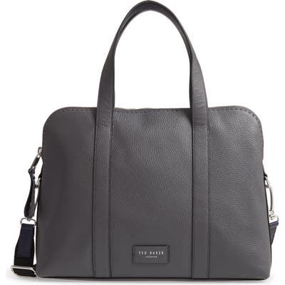Ted Baker London Infern Leather Document Bag - Grey