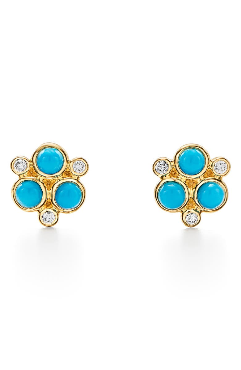 TEMPLE ST. CLAIR Trio Turquoise & Diamond Stud Earrings, Main, color, YELLOW GOLD