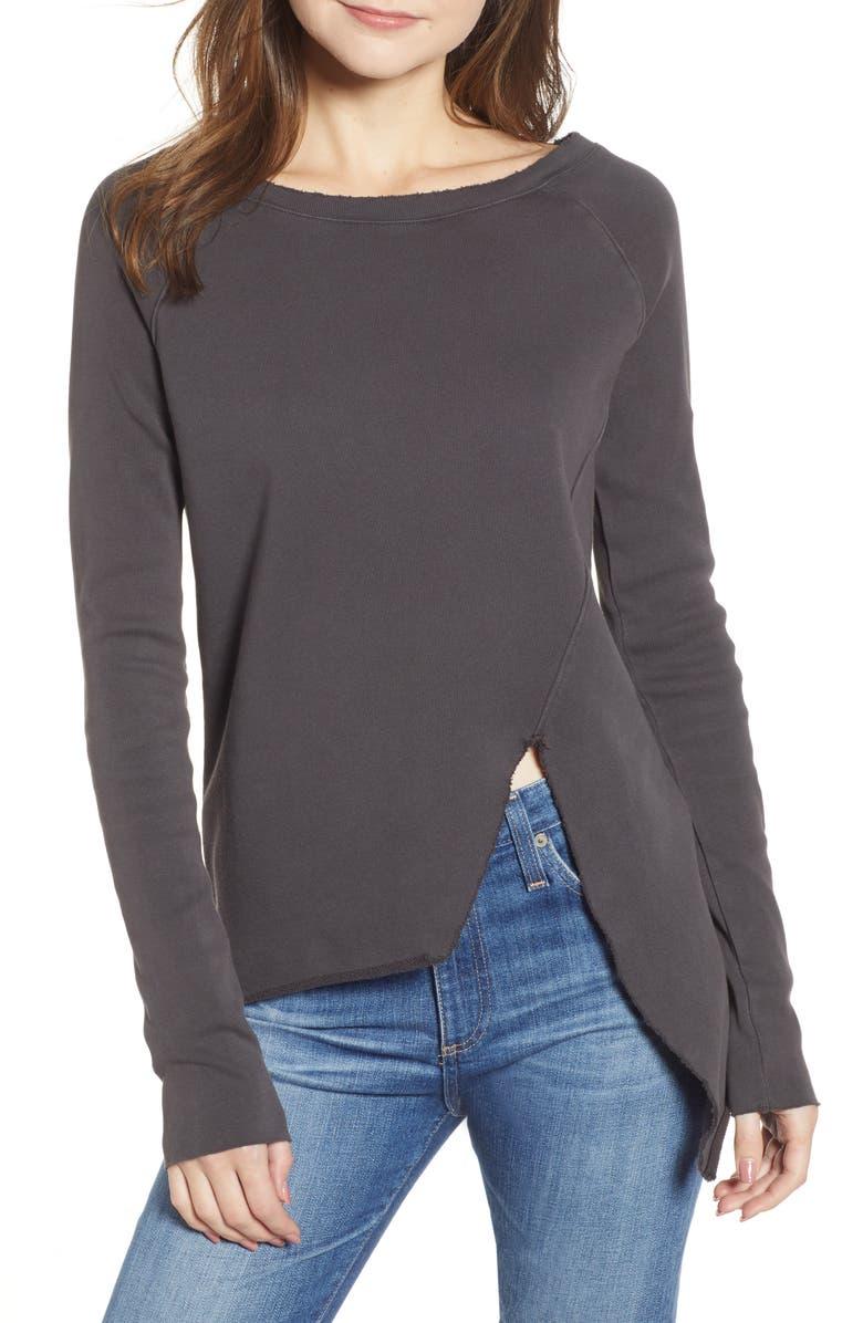 FRANK & EILEEN Tee Lab Asymmetric Sweatshirt, Main, color, CARBON