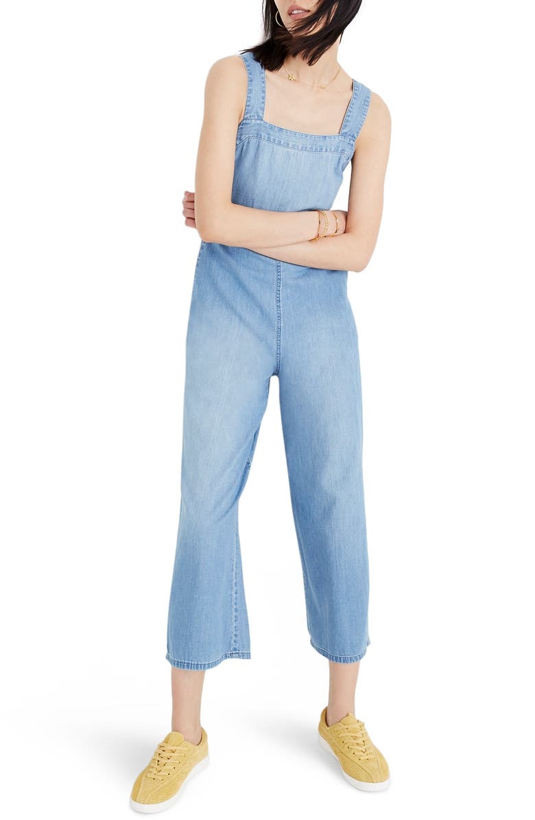 MADEWELL Apron Bow-Back Denim Jumpsuit, Main, color, 400