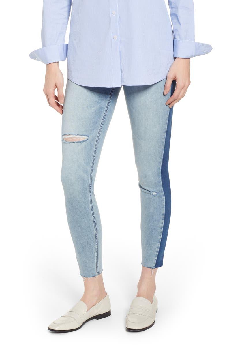 SPANX<SUP>®</SUP> Washed Side Stripe Denim Leggings, Main, color, LIGHT WASH