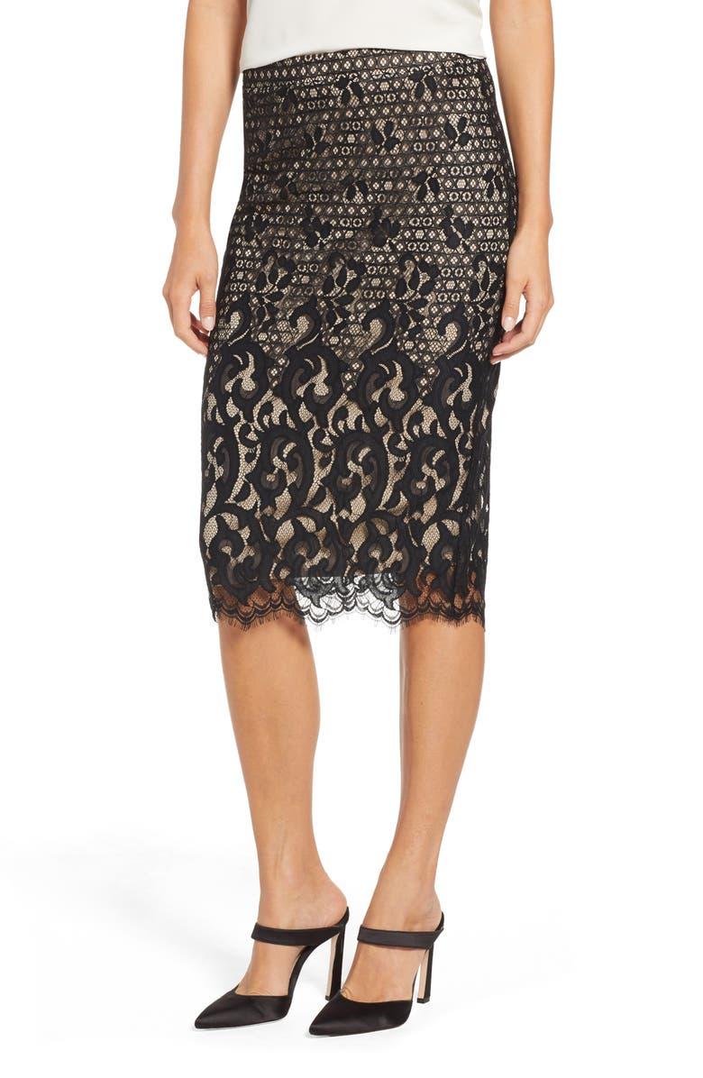 TDC Lace Pencil Skirt, Main, color, BLACK