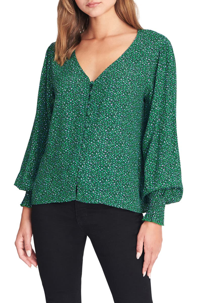SANCTUARY Noelle Smocked Cuff Blouse, Main, color, MINI EMERALD LEO