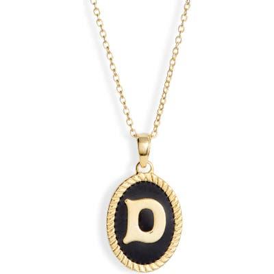 Argento Vivo Initial Black Pendant Necklace
