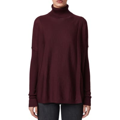 Allsaints Koko Merino Wool Turtleneck Wrap Sweater, Burgundy