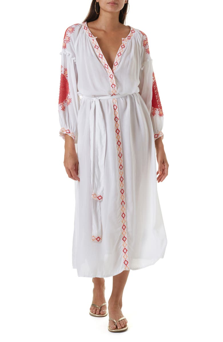 MELISSA ODABASH Iyla Cover-Up Midi Dress, Main, color, WHITE/ RED