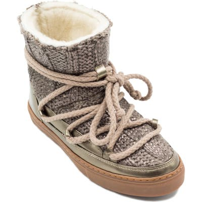 Inuikii Galway Genuine Sheepskin Sneaker Boot Metallic