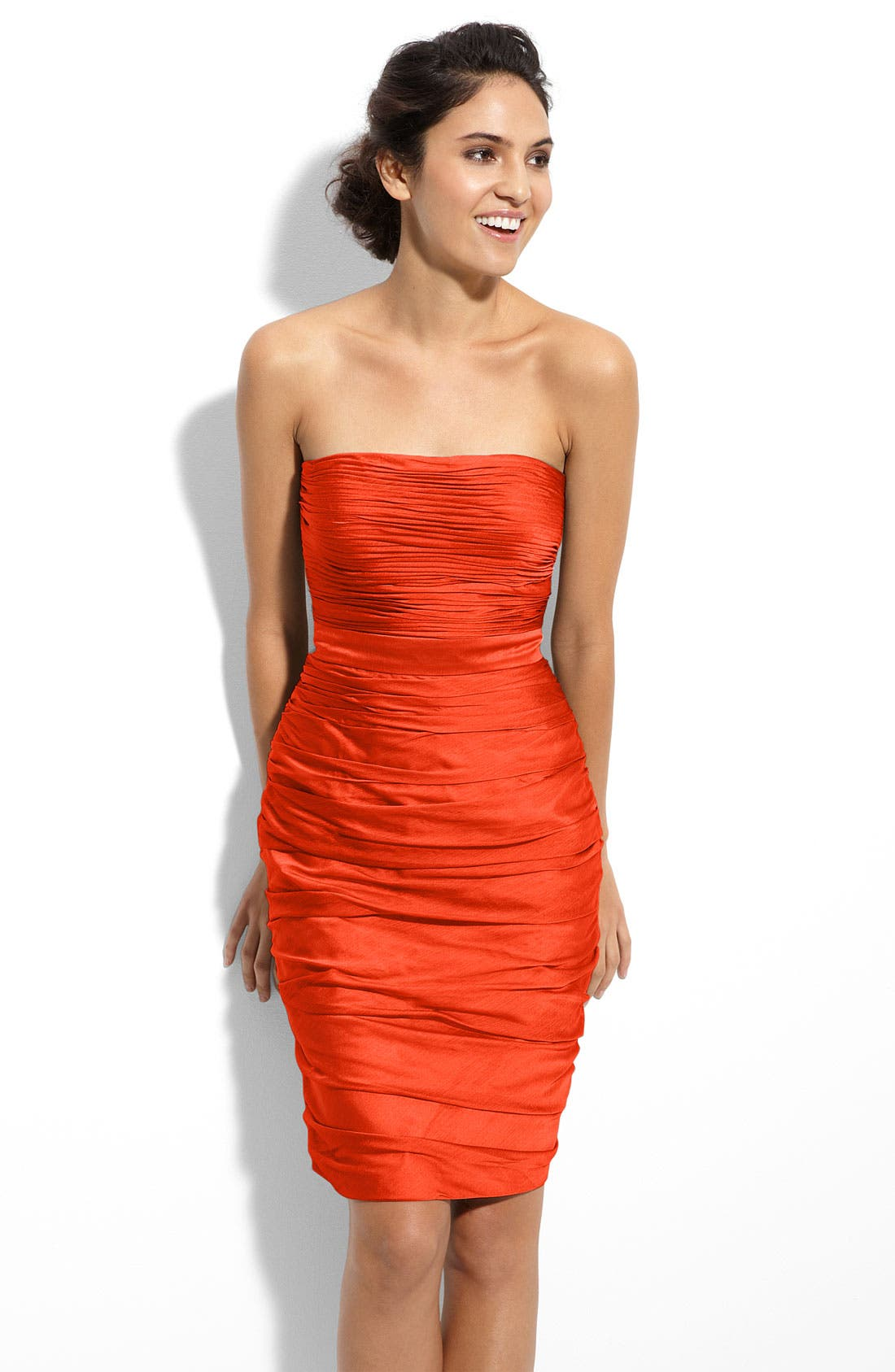 ,                             Ruched Strapless Cationic Chiffon Dress,                             Main thumbnail 71, color,                             800