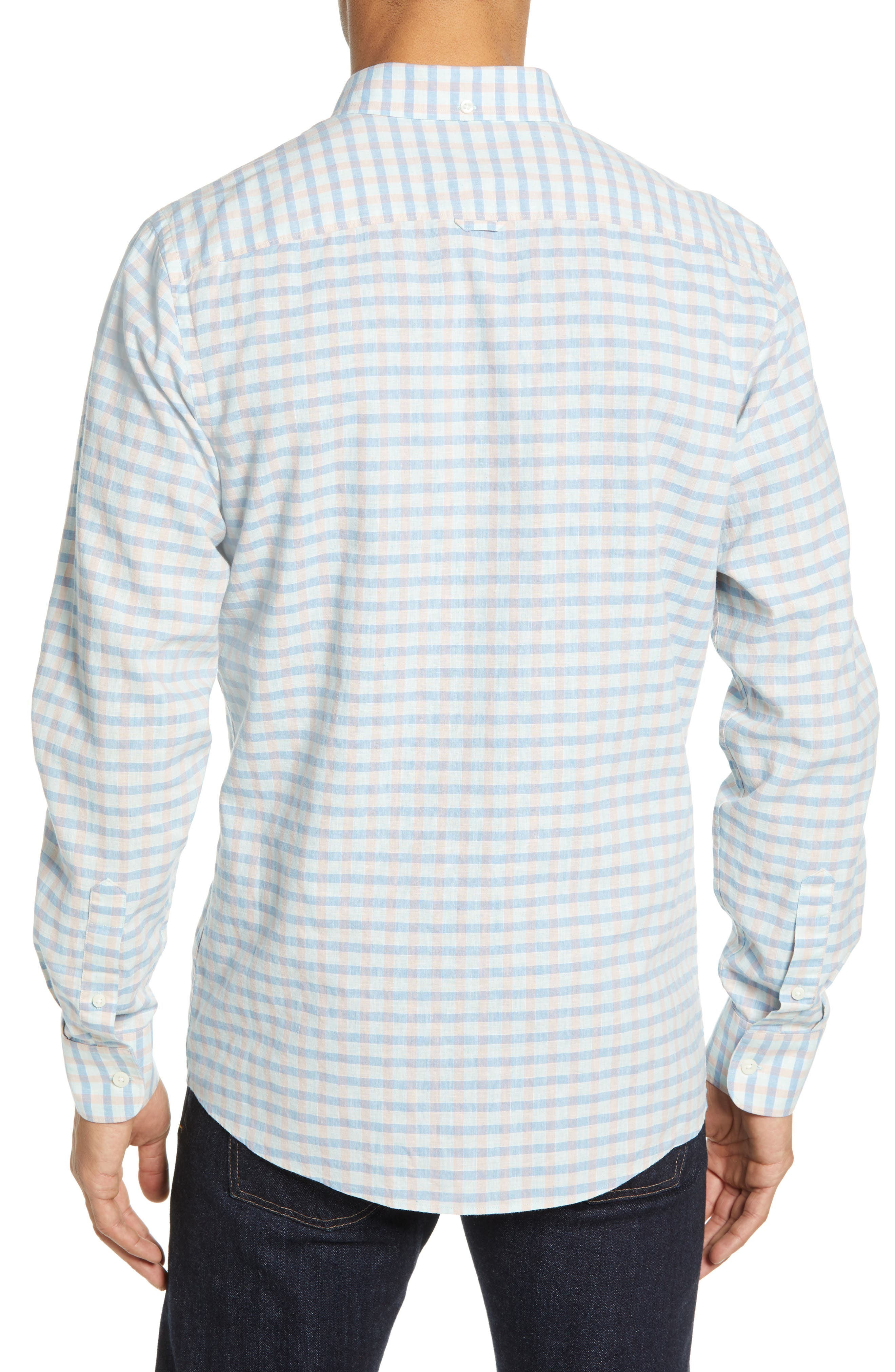 ,                             Ivy Heather Linen Blend Slim Fit Sport Shirt,                             Alternate thumbnail 3, color,                             TEAL FAIR BLUE GINGHAM