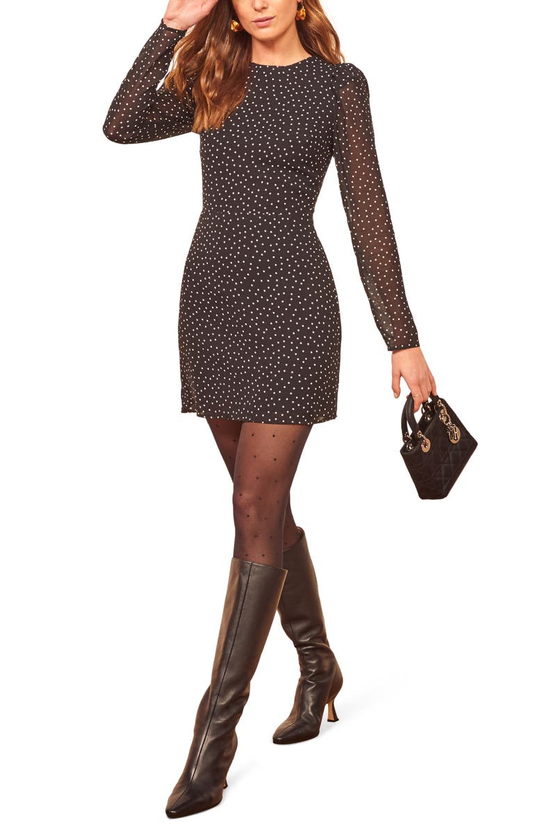 REFORMATION Romee Polka Dot Long Sleeve Minidress, Main, color, SELENE