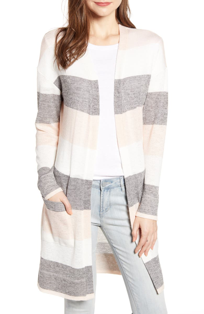 SOCIALITE Stripe Longline Cardigan, Main, color, GREY/ IVORY/ BLUSH