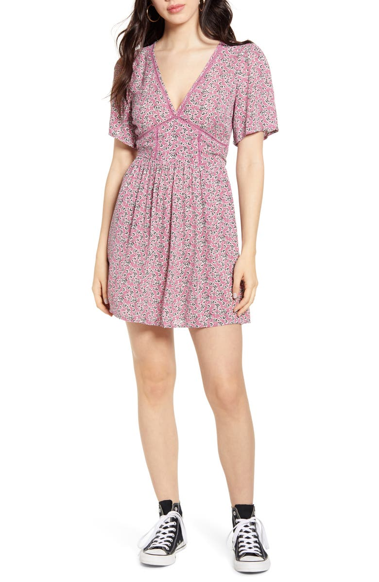 BAND OF GYPSIES Ladder Stitch Floral Minidress, Main, color, 650