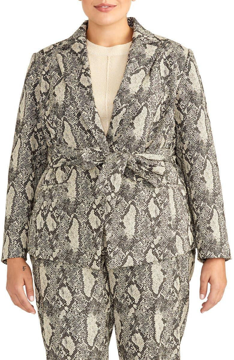 RACHEL ROY COLLECTION Snake Print Tie Waist Cotton Blend Jacket, Main, color, 061