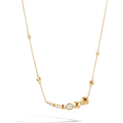 John Hardy Hammered 18K Gold & Pave Diamond Chain Necklace