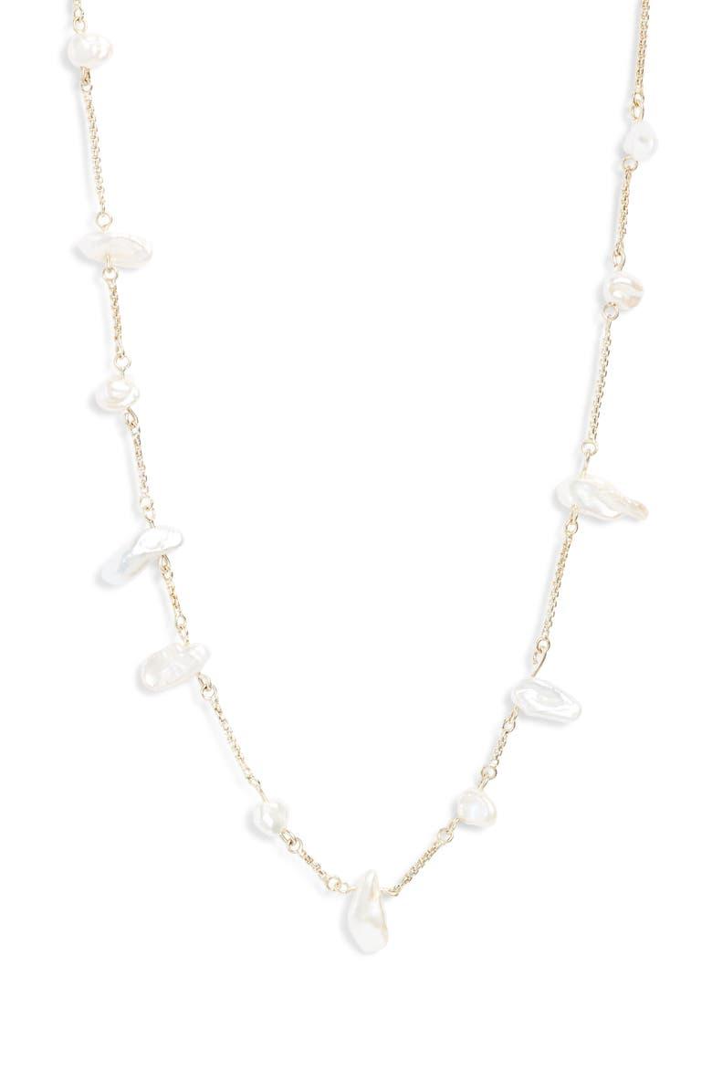 KENDRA SCOTT Krissa Natural Pearl Necklace, Main, color, GOLD/ WHITE BAROQUE PEARL