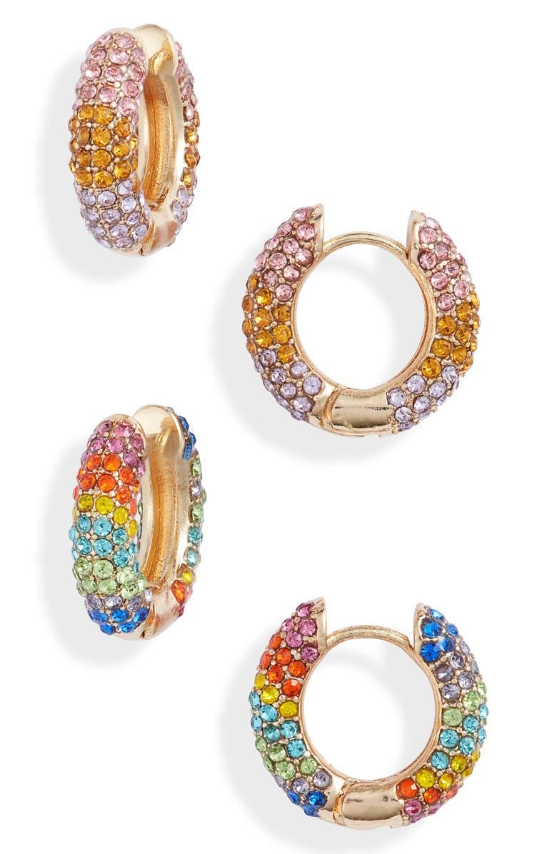 8 OTHER REASONS Set of 2 Pavé Huggie Hoop Earrings, Main, color, 710
