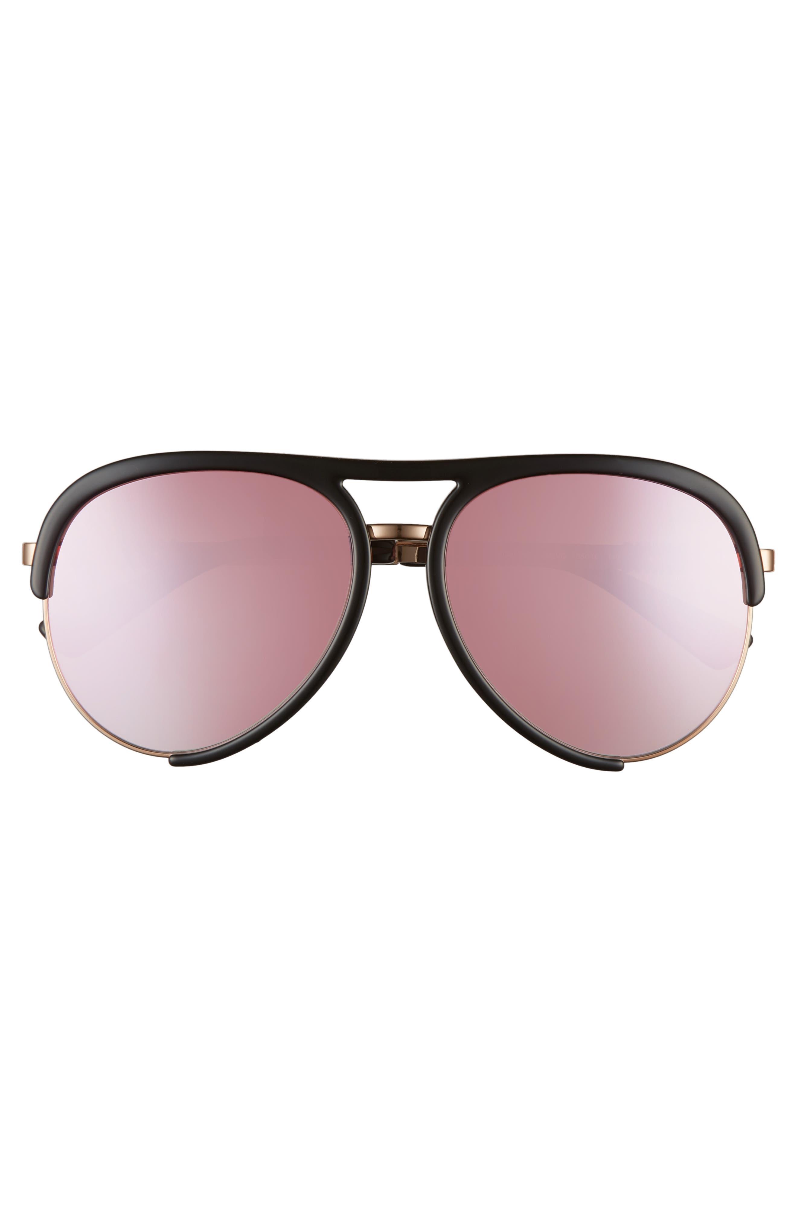 ,                             58mm Aviator Sunglasses,                             Alternate thumbnail 3, color,                             BLACK/ GOLD
