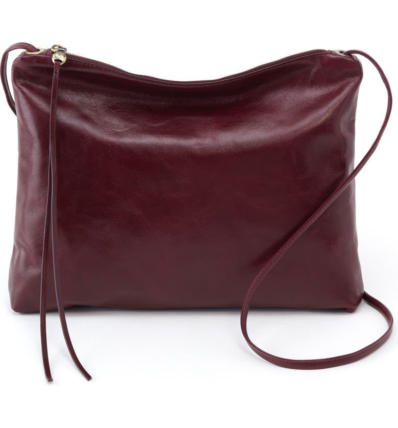 HOBO Ziggy Leather Crossbody Bag, Main, color, DEEP PLUM