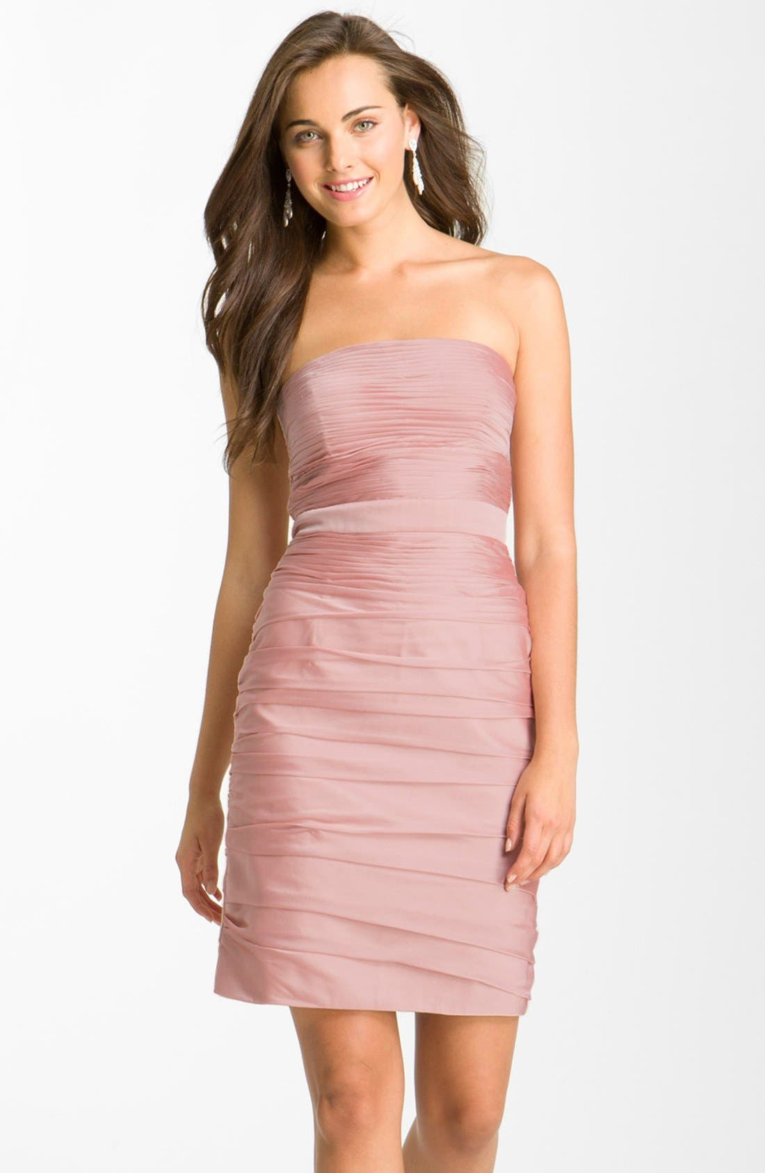 ,                             Ruched Strapless Cationic Chiffon Dress,                             Main thumbnail 65, color,                             697