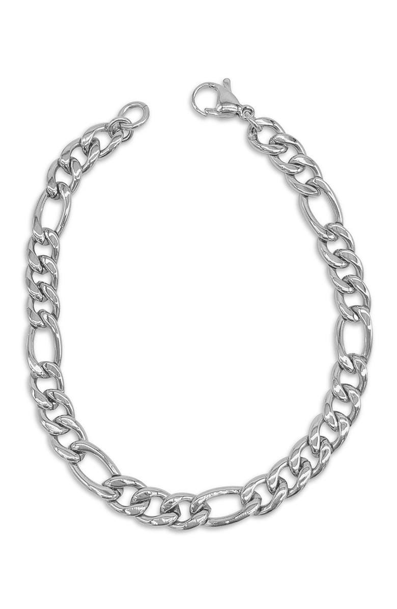 """ADORNIA 7mm Figaro Chain Bracelet - Silver - 9"""", Main, color, SILVER"""