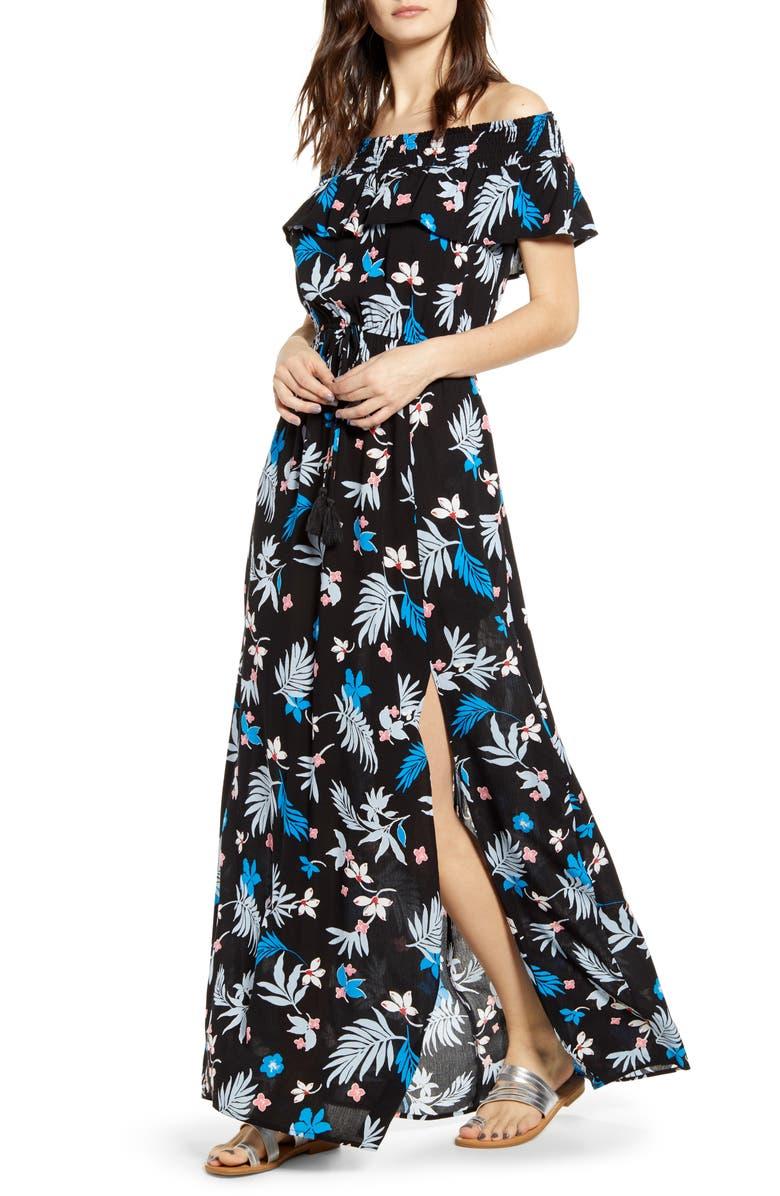 BAND OF GYPSIES Floral Print Off the Shoulder Maxi Dress, Main, color, BLACK/ LIGHT BLUE