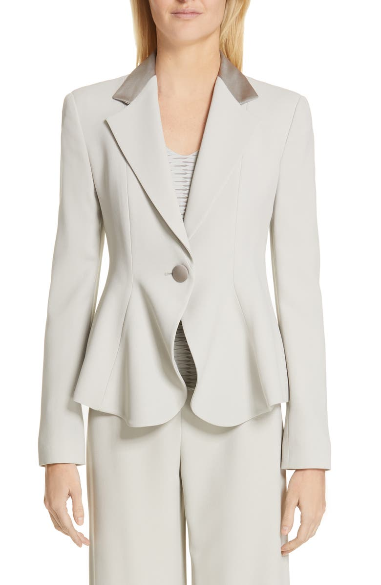 EMPORIO ARMANI One-Button Flounce Jacket, Main, color, GREIGE
