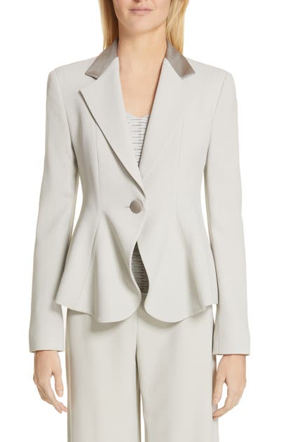 Emporio Armani One-Button Flounce Jacket In Greige