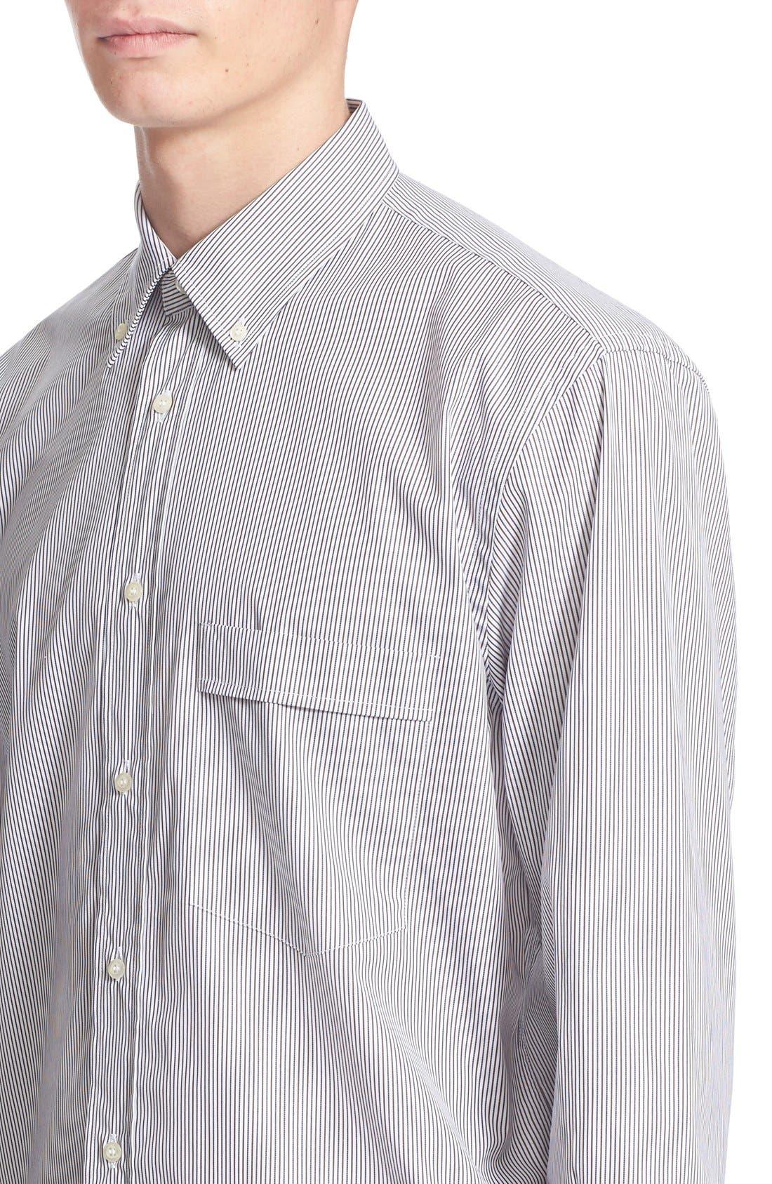 ,                             Trim Fit Stripe Shirt,                             Alternate thumbnail 4, color,                             100