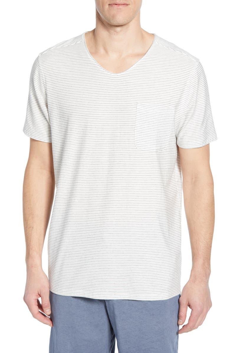 DANIEL BUCHLER Thin Stripe V-Neck Stretch Cotton & Modal T-Shirt, Main, color, GREY STRIPE
