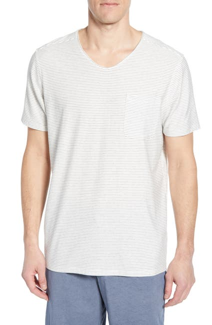 Image of Daniel Buchler Thin Stripe V-Neck Stretch Cotton & Modal T-Shirt